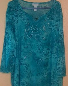 Avenue turquoise & silver sheer Paisley print top